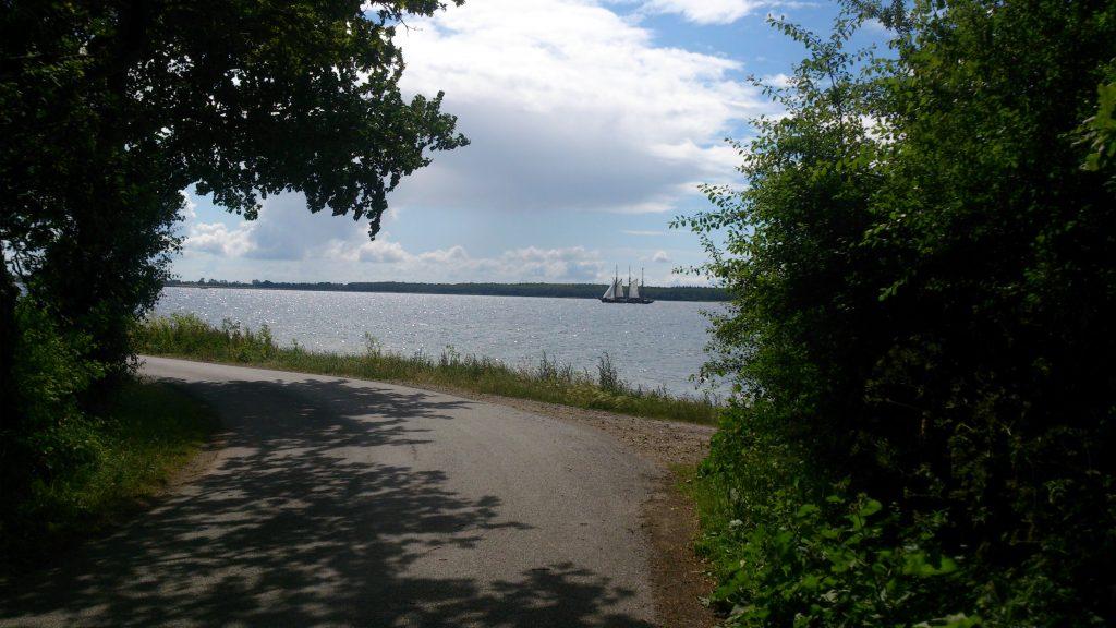 Skov, hav og sejlskib ved Lehnskov